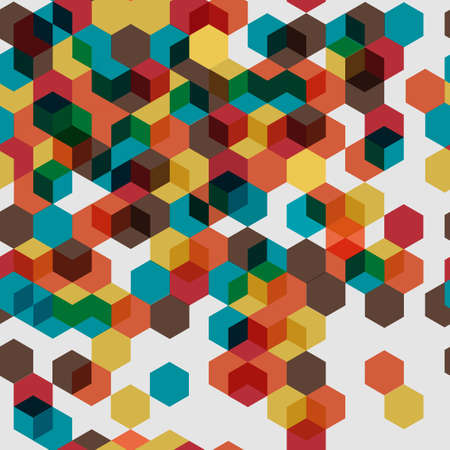 Seamless pattern of colorful abstract cubes Vector