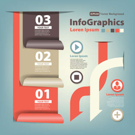 Modern Design numbered banners template with curl ribbon