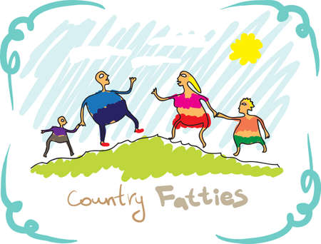Country fatties  Drawing, a family of four Vector