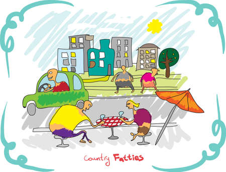 Country fatties  Street with cafes Stock Vector - 18028446