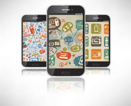 Smartphones with the wallpaper on the theme of social infographic Vector