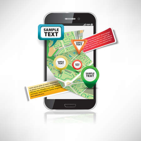 Smartphone with maps Vector
