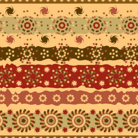 Abstract seamless pattern of brown floral elements Vector