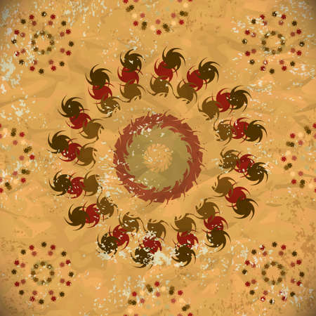 seamless pattern of brown floral elements Vector