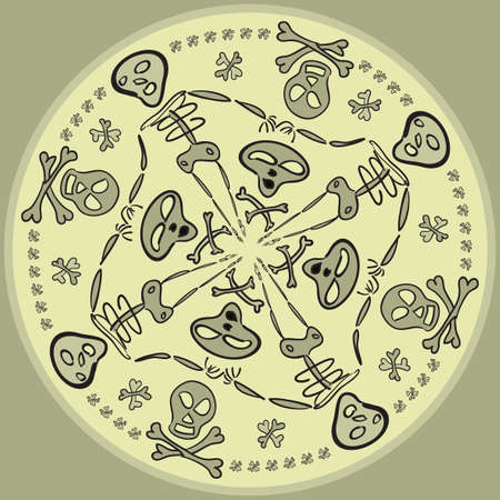 Seamless circular pattern of comic skulls and skeletons Vector