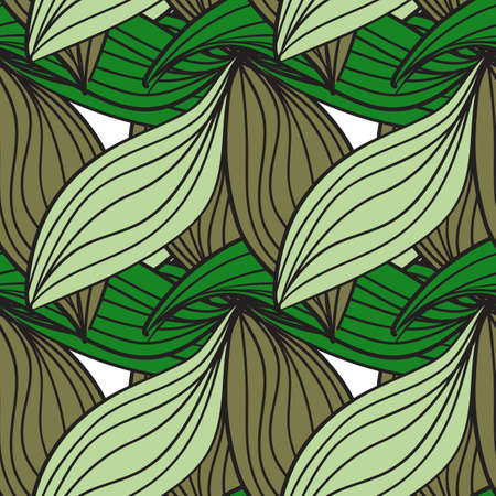Seamless pattern of green leaves cane Stock Vector - 18784186