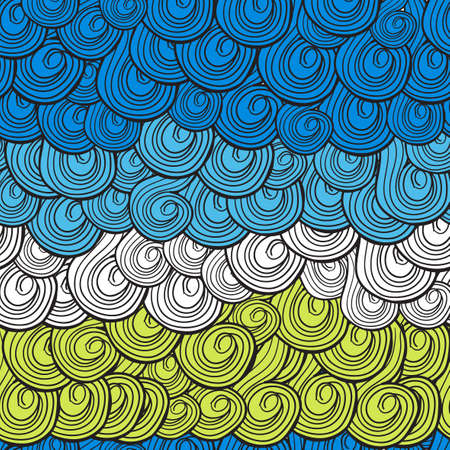 Abstract multi-colored waves pattern with swirls