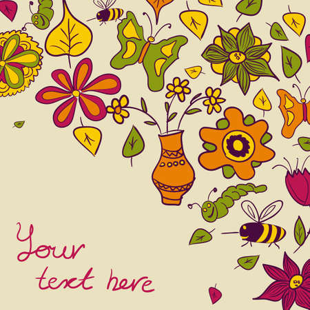 Floral background, nature theme, greeting card   Vector