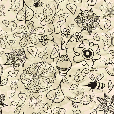 Seamless pattern with black-and-white leaves and insects Vector