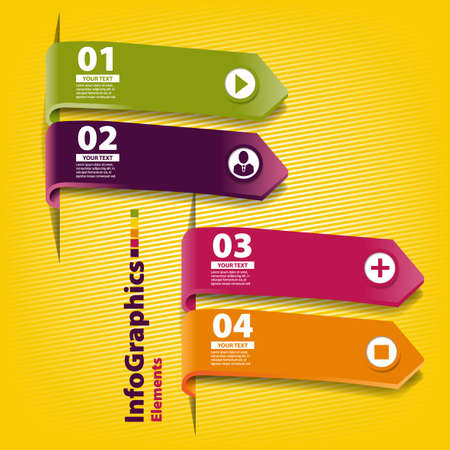 Four colored paper stripes for infographics