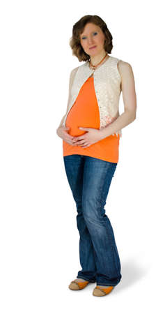 Mature pregnant woman in the studio Stock Photo - 19274969
