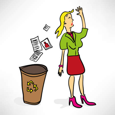 Businesswoman throws documents in the trash Vector