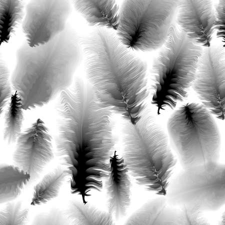 black fabric: Seamless pattern of black and white feathers