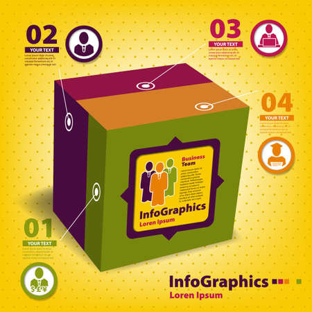 Set of elements for infographics in the form of a cube Stock Vector - 19761407