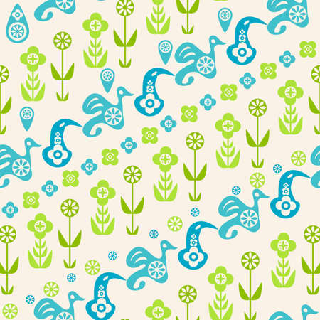 Abstract seamless pattern of birds and flowers Stock Vector - 19761403