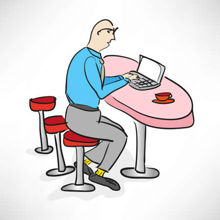 Caricature businessman working in a bar Vector