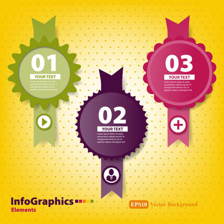 Set of elements for infographics with stamps and ribbons
