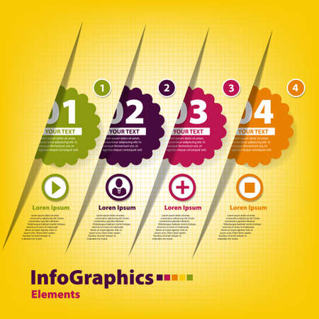 Set of four stickers for infographics Vector
