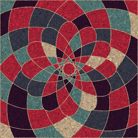 concentric circles: circular pattern of multicolored geometric shapes Illustration
