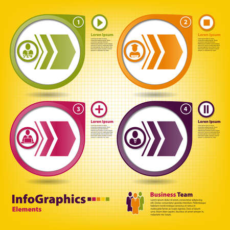 Four multi-colored design elements for infographics