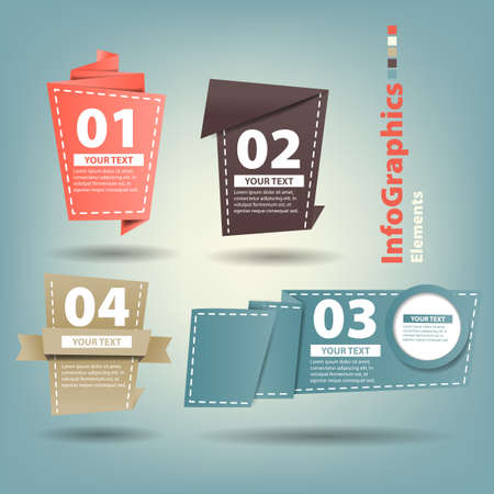 Four origami paper element for infographics Illustration