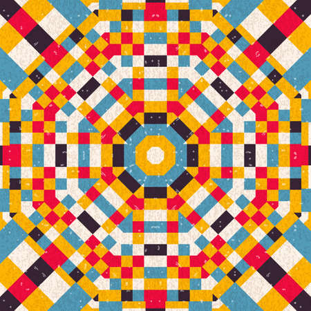 Seamless abstract circular pattern of colored squares