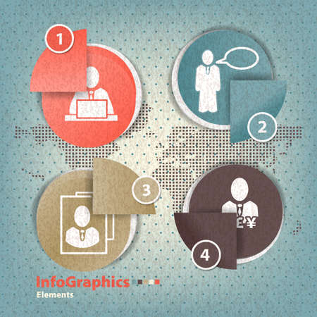 Set of elements for infographics in the form paper elements Stock Vector - 20165894