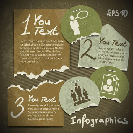 set of infographics from torn pieces of paper in vintage style scrapbooking Stock Vector - 20361878