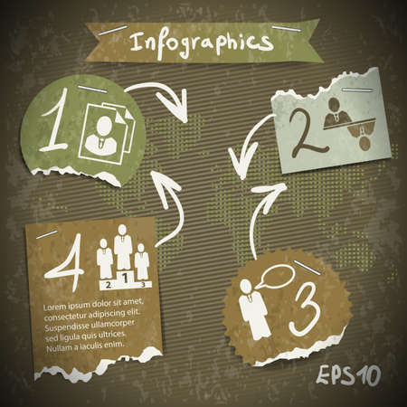 infographics with torn pieces of paper in vintage style scrapbooking Illustration