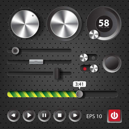 Hi-End User Interface Elements for audio player and website Stock Vector - 20361873