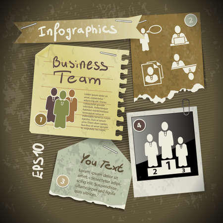 set of infographics from torn pieces of paper in vintage style scrapbooking with photo Polaroid Vector