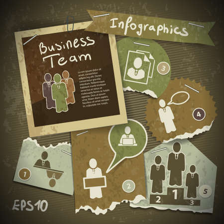 set of infographics from torn pieces of paper in vintage style scrapbooking  Team work