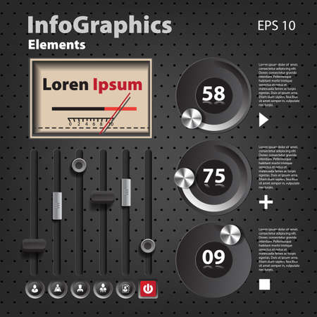 Set of elements for infographics in UI style with detector Vector