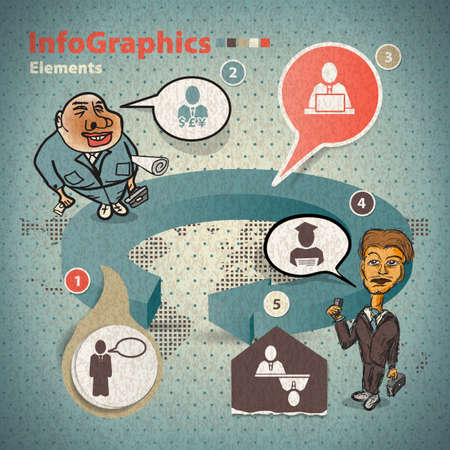 turnover: Set of elements for infographics with two businessmen Illustration