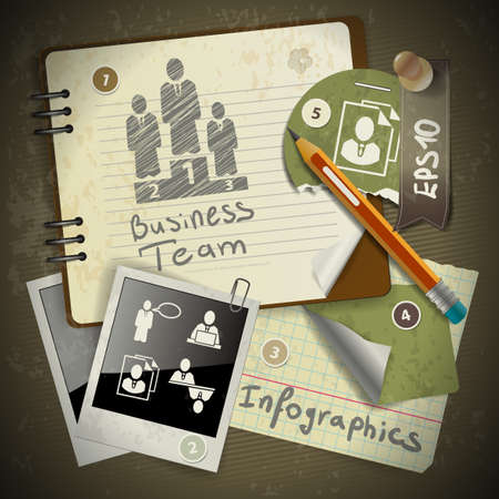 creative communication: set of infographics from torn pieces of paper in vintage style scrapbooking with notepad Illustration