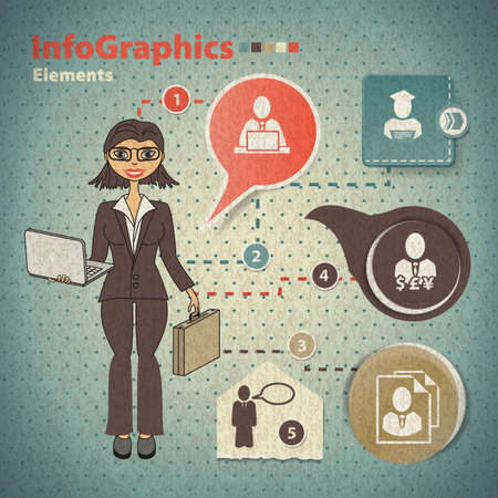Set of elements for infographics with business woman Vector