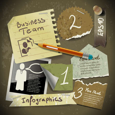 set of infographics from torn pieces of paper in vintage style scrapbooking with pencil Illustration