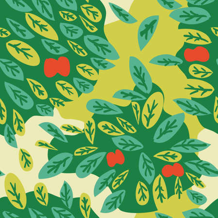Seamless pattern of abstract leaves and apples Vector