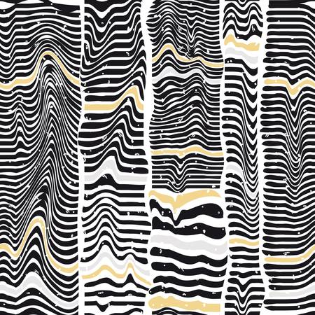 Seamless pattern of black stripes similar to a zebra Vector