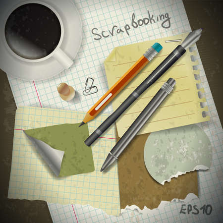 Set for scrapbooking stationery and coffee in vintage style Stock Vector - 20653427