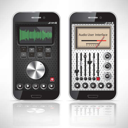 Two UI Mobile Application Metal, black Smartphone  Vector