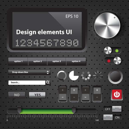 Design elements Dark User Interface Controls Stock Vector - 20635577