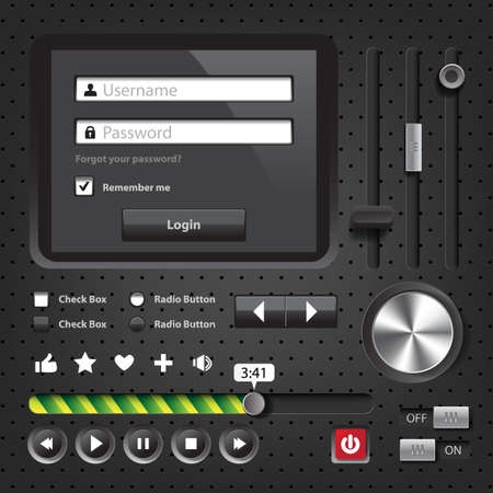 Design elements Dark User Interface Controls with login window Vector