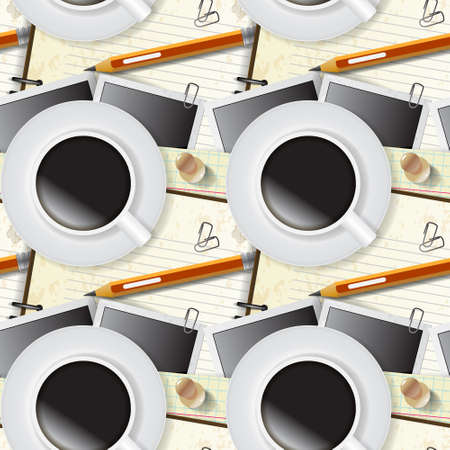 Seamless pattern of stationery, notepad and coffee Stock Vector - 20927155