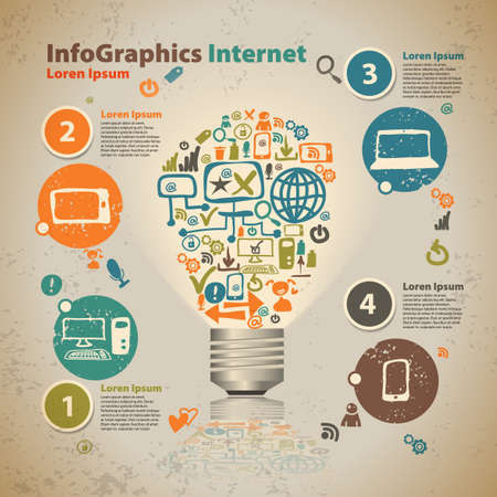 digital marketing: Infographics light bulb with cloud of application icon