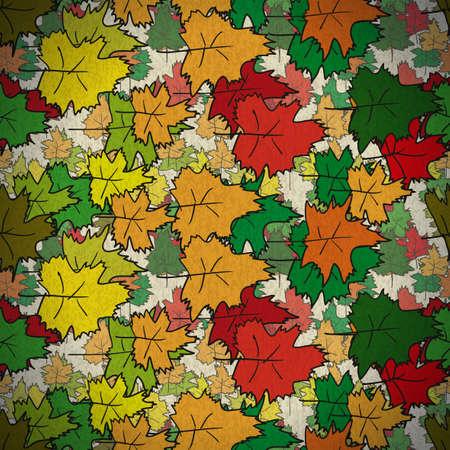 wallpapper: Vintage seamless pattern di foglie di acero colorate Vettoriali