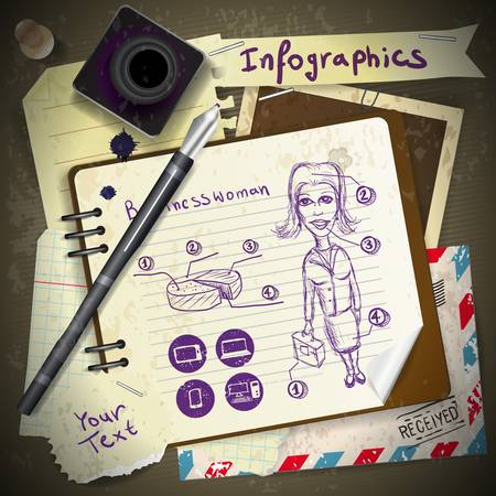 Set for infographics with stationery and business woman drawing ink Stock Vector - 21286566