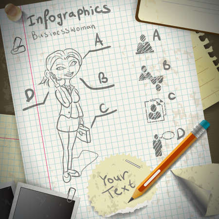 Set for infographics with stationery and business woman drawing pencil Stock Vector - 21286572