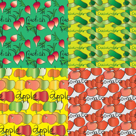 set of four seamless patterns with vegetables and fruits Vector