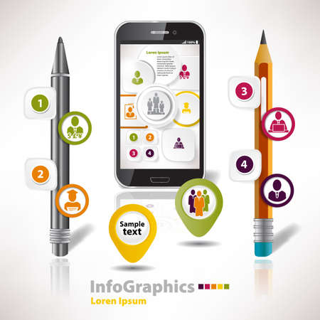 Modern vector elements for infographics with stationery elements for business design Stock Vector - 21286604